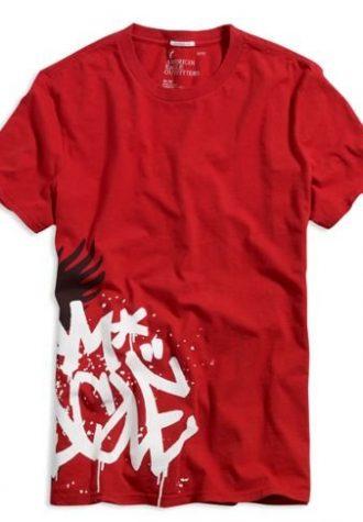 pánské červené triko s potiskem American Eagle, typ Graffiti ($ 11.95)