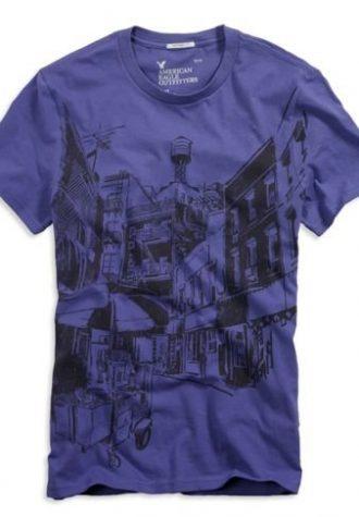 pánské fialové triko s potiskem American Eagle, typ Street Scene ($ 11.95)