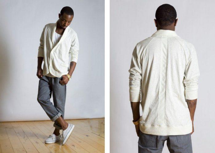 pánský bílý svetr na zapínání a šedé kalhoty B-Scott Design