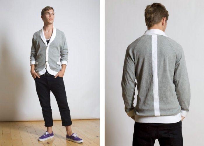 pánský šedý svetr na zapínání a černé kalhoty B-Scott Design