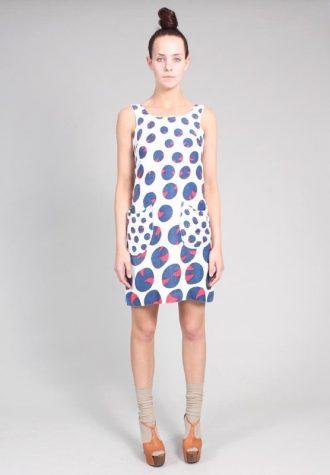 dámské modrobílé šaty s puntíky Ramona West (49 USD)