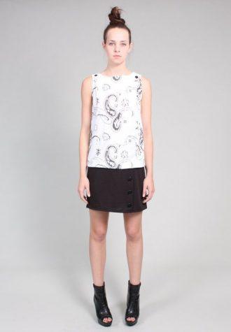 dámský černobílý top a černá minisukně Ramona West (49 USD)