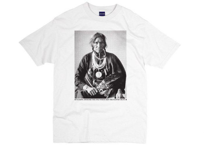 pánské bílé triko s potiskem Fucking Awesome - Native Trust ($ 10)