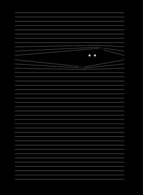 Threadless, tričko Little monster hiding the lines