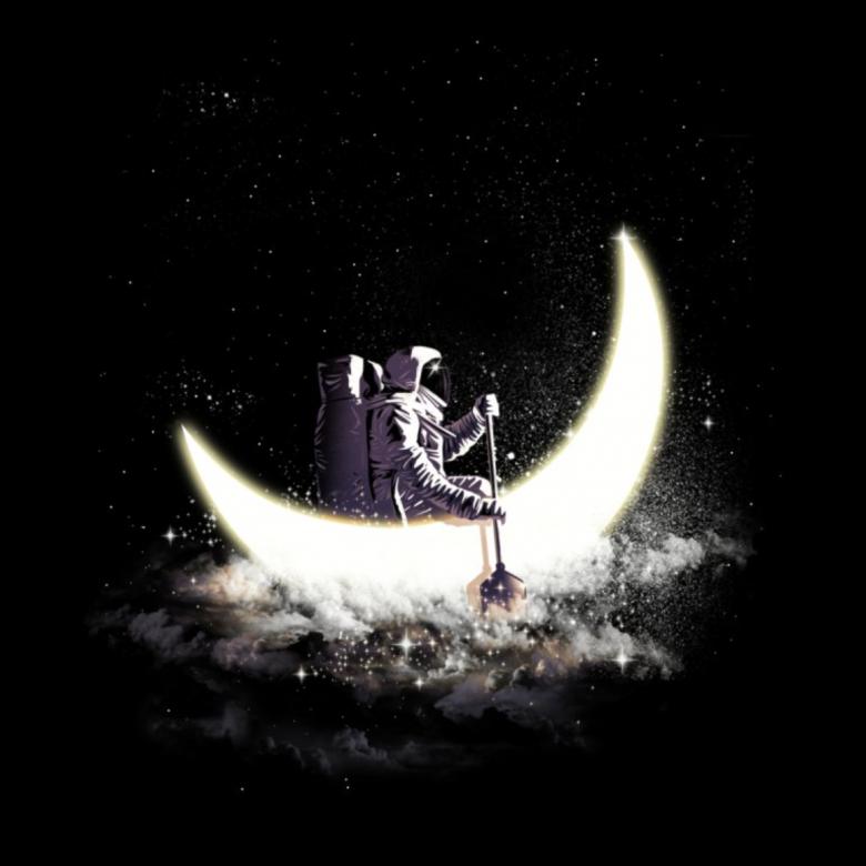 Threadless, tričko Moon sailing